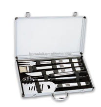 High quality travel used stainless steel bbq tool with aluminum case
