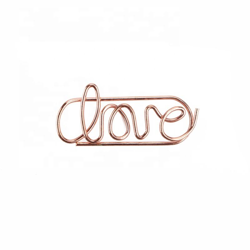 14years Manufacturer Custom Logo Rose Gold Love Clip Paper Clip Factory