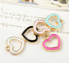 metal enameled hollow peach heart charm filigree heart charms DIY jewelry accessories color enamel heart charms