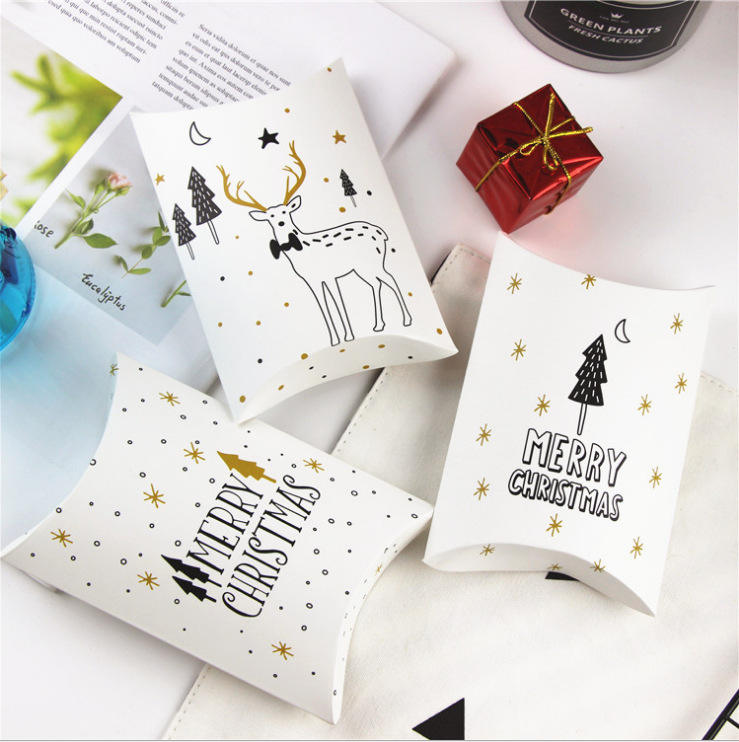 Customized Xmas Recycled folding paper printed paper pillow box for cookies