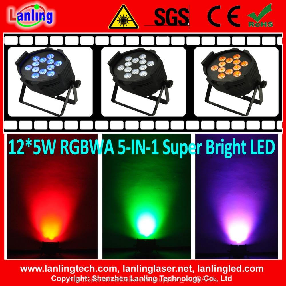 12 * 5 W <span class=keywords><strong>led</strong></span> par luz super brillante 5-en-1 disco llevó la iluminación del