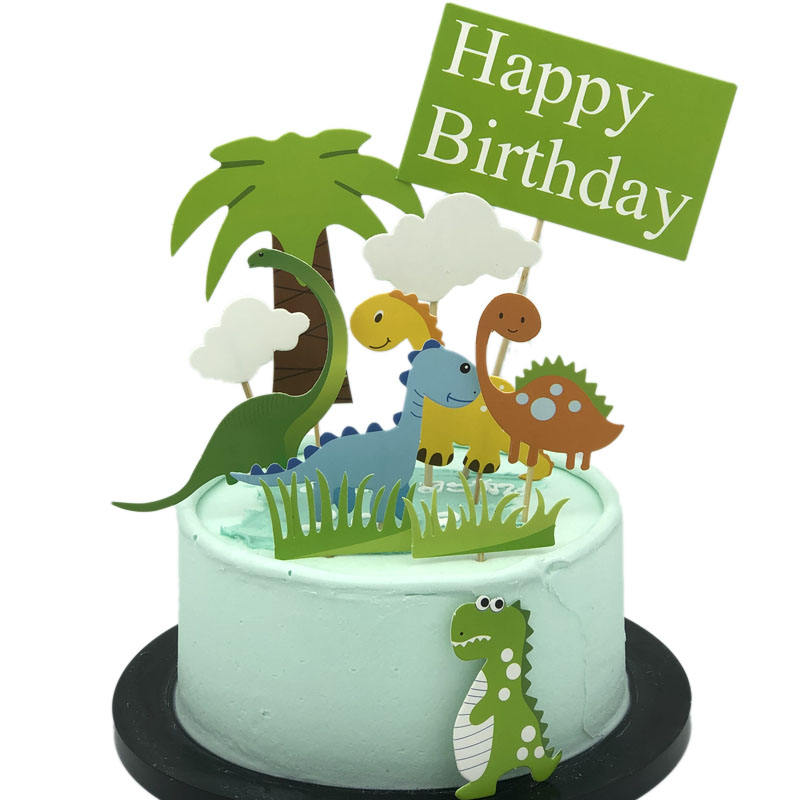 Cute Baby Dinosaur Cupcake Picks Cake Toppers for Kids Birthday Baby Shower Party Decorations Supplies Wholesale