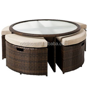 Round sectional space saving 4 stools/poufs with glass top dinig table rattan outdoor bistro set