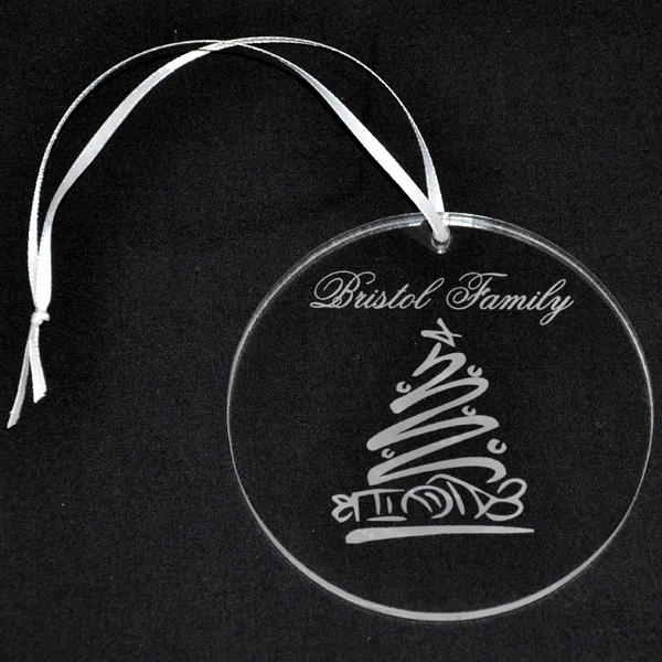 Clear Personalized Acrylic Ornament with Engraved Whimsical Tree Design Decoration Christmas Ornament