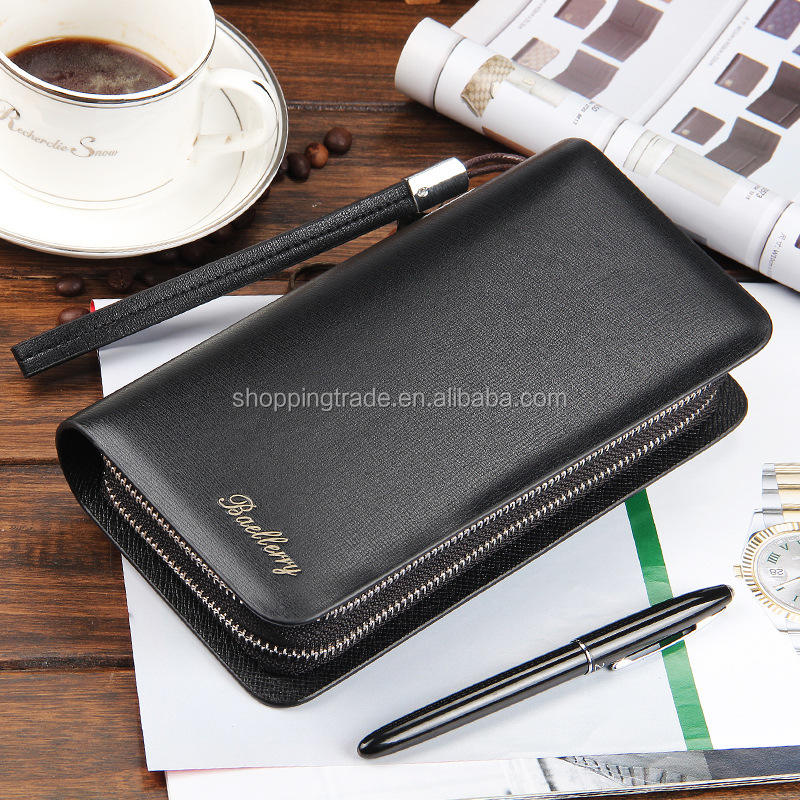 Wholesale baellerry multi-functional double zipper clutch pu wallet for men
