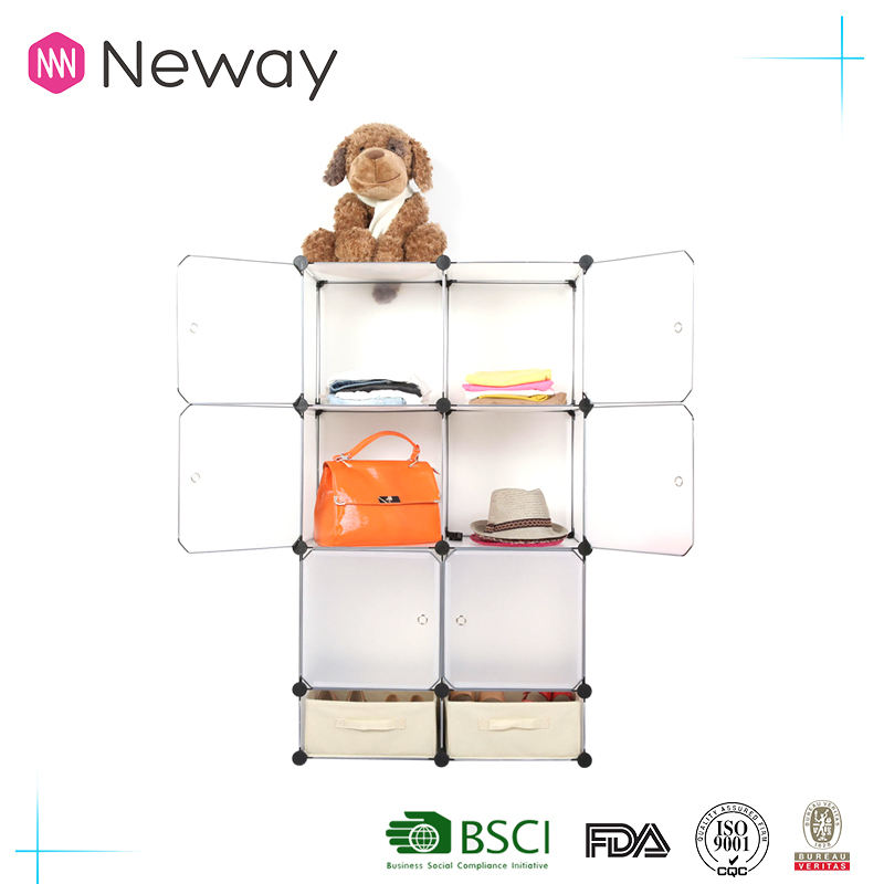 Alibaba new PP material plastic household cleaning goods warehouse living room DIY shoe rack house PP clear cube storage