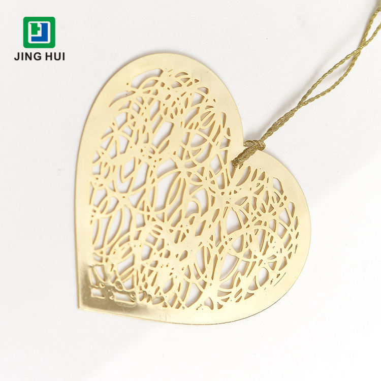 Promotional Gift Factory Wholesale Price 24K Gold Plated Metal Heart Shape Bookmark With Gold String