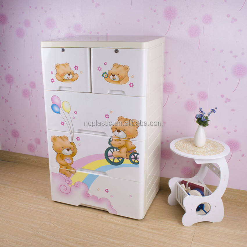 4-tier cute toy storage chest plastic drawer with 2 lock