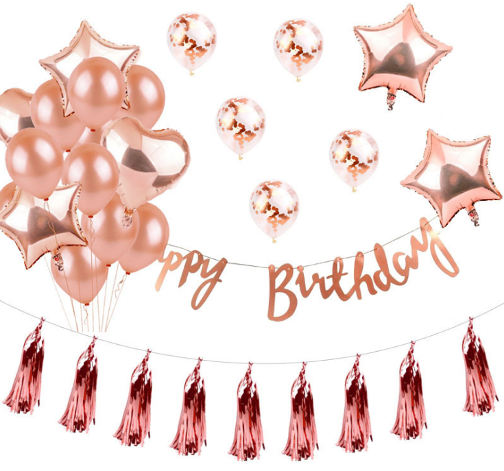 Rose gold Letters balloon for birthday decorative aluminum-coated balloon suit