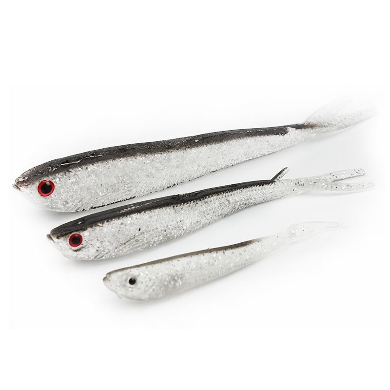 7.5cm 1.7g Soft Rubber Silver Drop Shot Lure Shad for Perch Pike Trout Jigging Worms Fish Lure Artificial Fishing Bait
