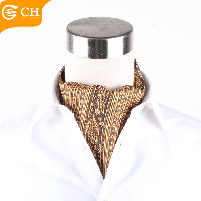 Wholesale Handmade Fashion Silk Yarn-dyed Mens Ascot Cravat For Men