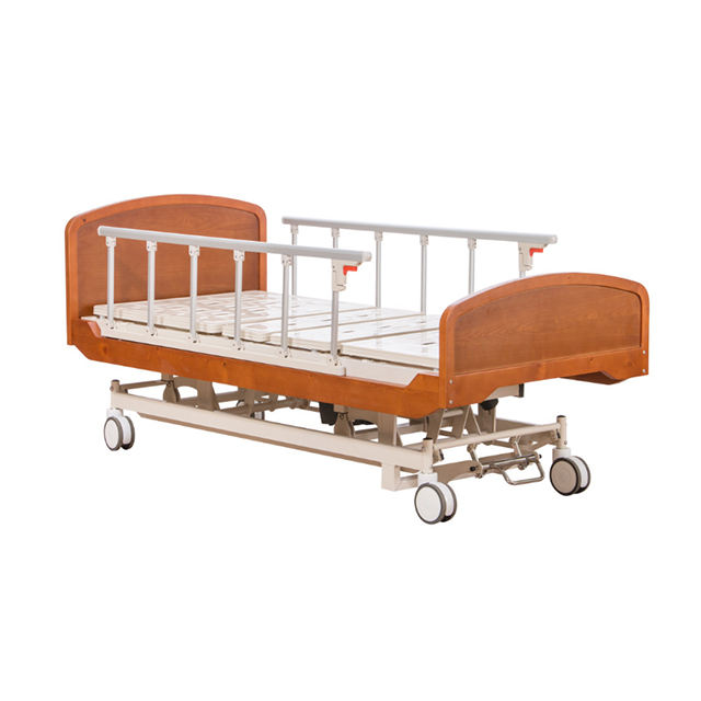 Hospital electric bed 5 function electric nursing bed with wood head and foot board