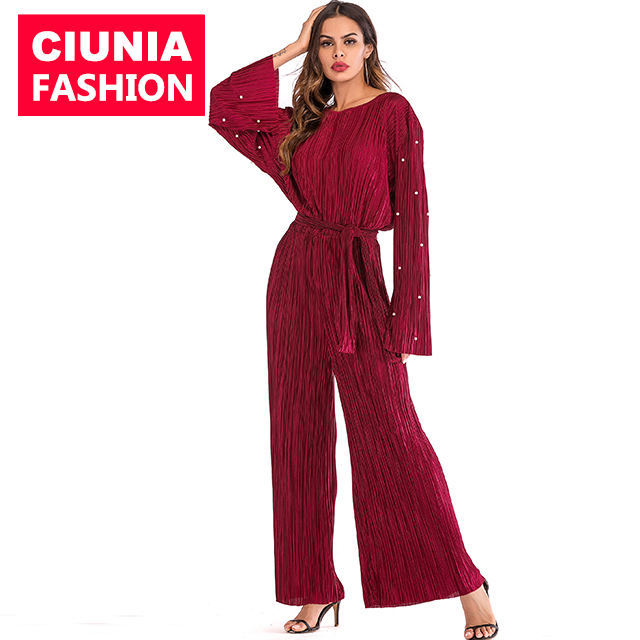 1635# Pearl Design Loose One Piece Pleated Rompers For Ladies Modest Fashion For Women Muslim Ladies Jumpsuits Dubai Abaya