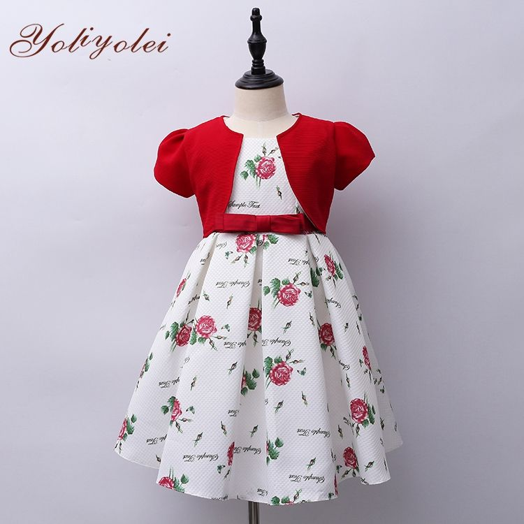 Wholesale Long Printed Floral Smocked Baby Girl Dress, Girl Kid Festival Mix Dress