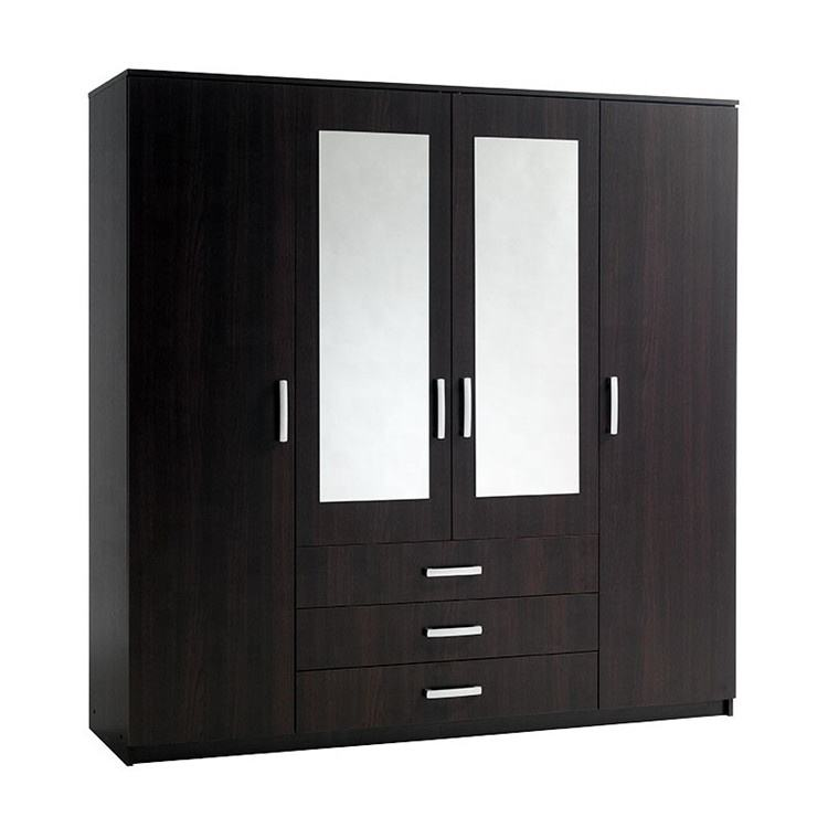 MS 4 door 3 drawer wooden almirah designs with mirror