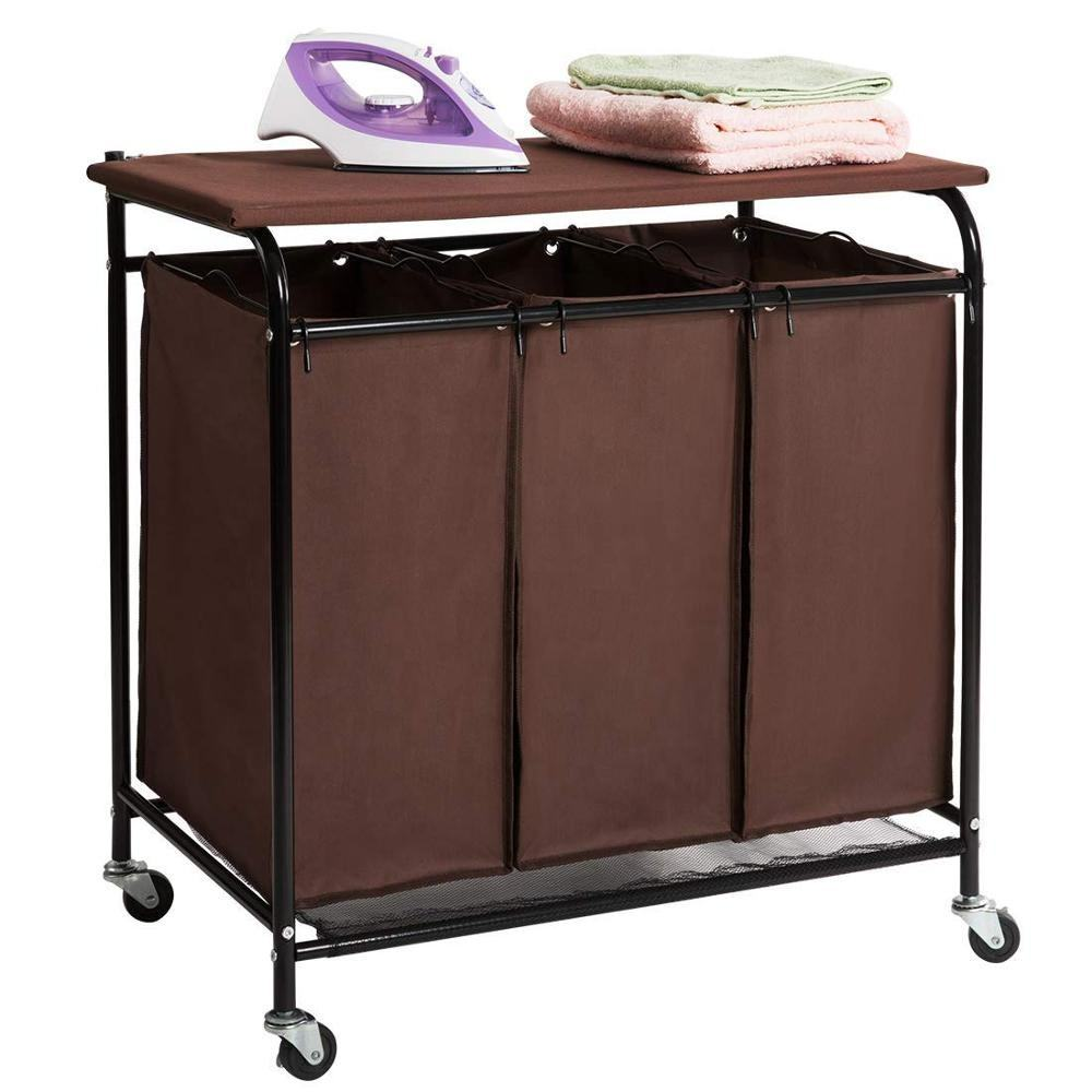 2019 selling good metal laundry hamper foldable commercial laundry basket with wheels