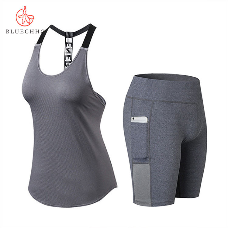 New women's workout set sport fitness yoga loose vest tight gym shorts two-piece set ladies breathable clothes suits