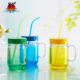 Factory price cheap 600ml colorful wide mouth double wall disposable plastic mason jar cups with straw