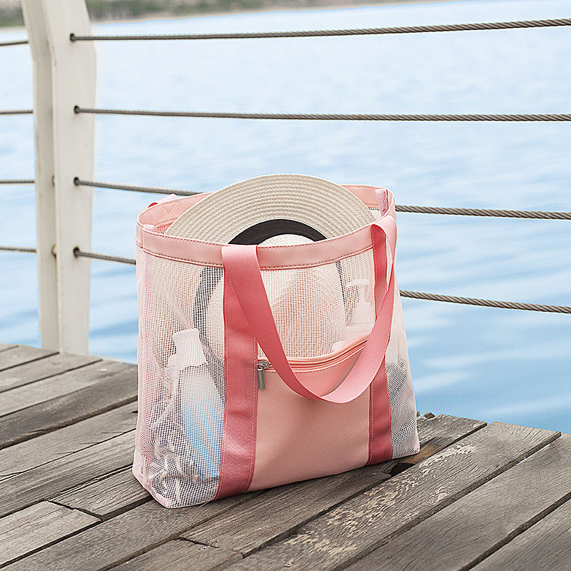 Custom Extra Large Capacity Travel Pool Waterproof PU Foldable Luxury Bag Exterior Zipper Pocket Mesh Beach Bag with Tote