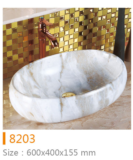 Marble Stone counter top egg shape wash basin Mount Granite Stone Basin