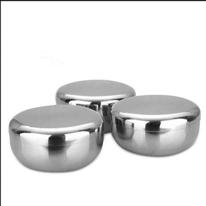 Stainless steel Tableware Bowls Korean double baby children rice bowl with cover