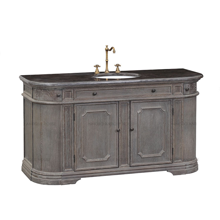 Antique furniture 160*60*85.5cm solid oak wood vanity bathroom cabinet