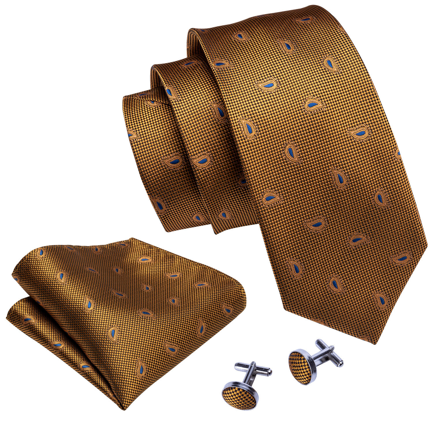New Mens Ties 100% Silk Jacquard Woven Golden Paisley Silk Neck Tie Set