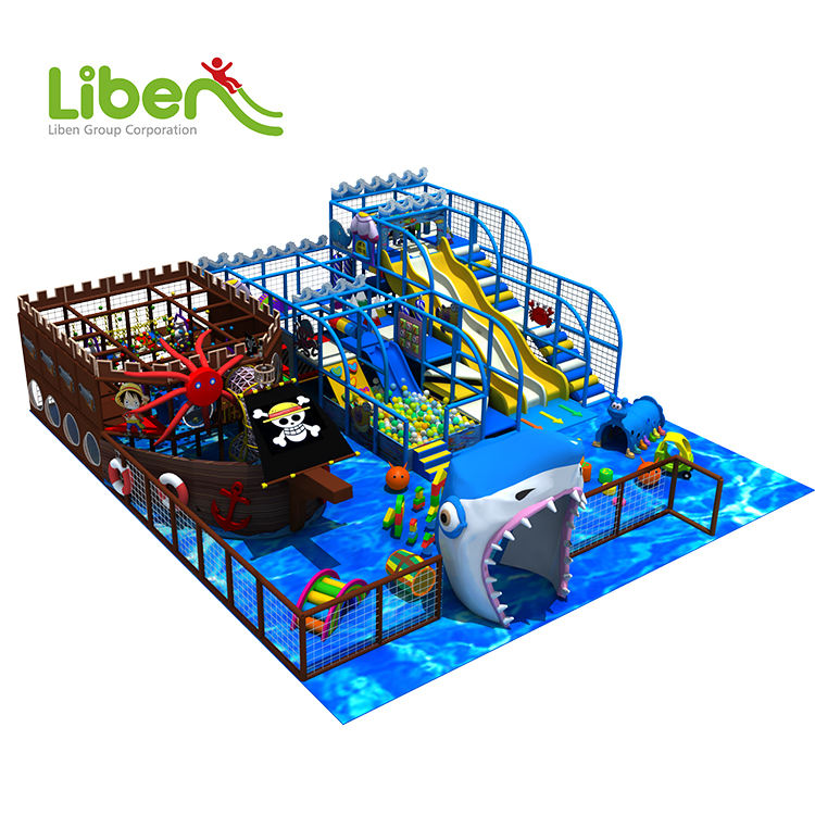 Pirate Theme Indoor Amusement Park, Large Ball Pool Slides Kids Games Indoor Playground Equipment