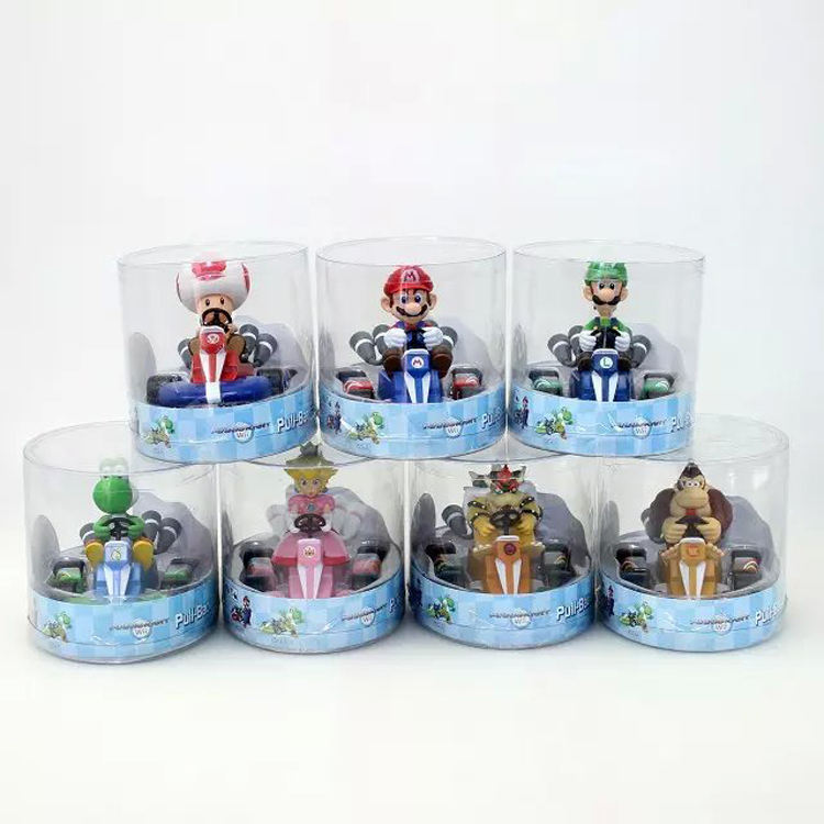 (Promotion) Hot selling Super Mario Bros Pull-Back Racers With PVC Mario Figures,High Quality Super Mario Pull back Car For Gift