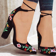 Chinese traditional embroidery women shoes block high heels pointed toe ankle strap lace-up dress shoes summer sandals