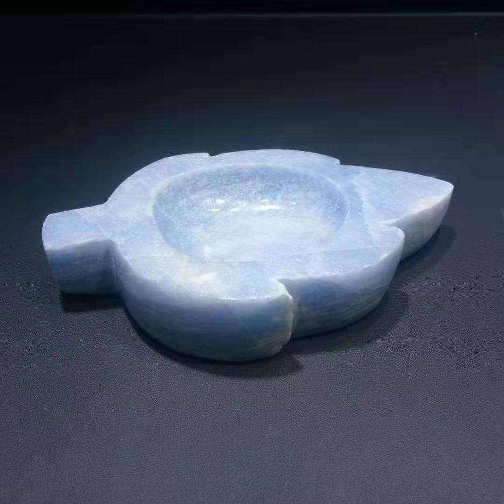 Business gifts natural fossil blue quartz bowl crystal leaf celestite ashtray commercial decoration