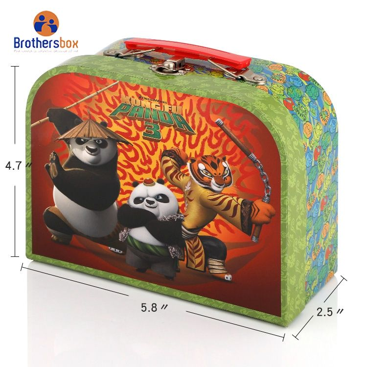 Custom decorative mini children baby kid paper cardboard suitcase style gift packaging box with handle