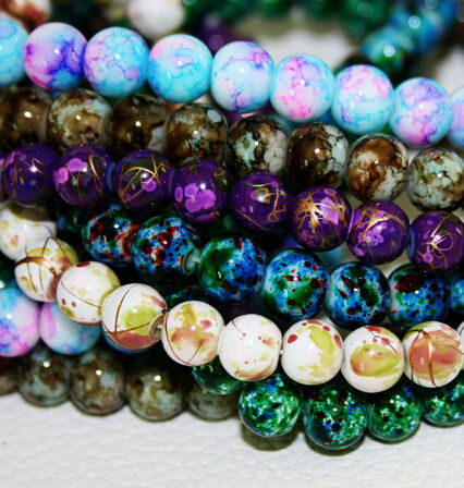 2019 New 100pcs/lot 8MM Bead Round Assorted Colorful Glass Beads For Women Bracelet making DIY Jewelry Making Accessories