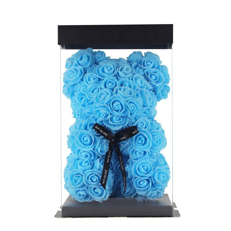 Wholesale Valentine Christmas 25cm Artificial Rose Flower Teddy Bear with Gift Box