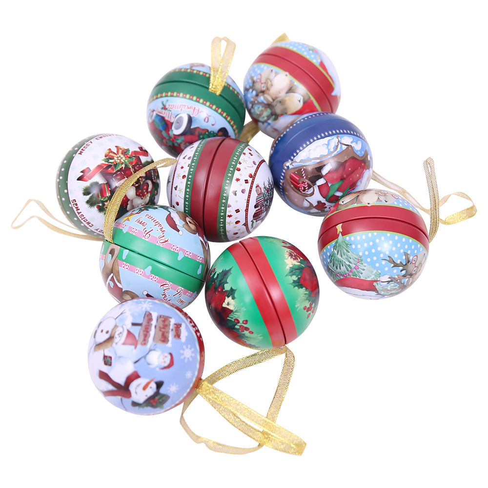 Christmas Ball Promotional Gift Decoration Ornaments Xmas Tin Plate Box Balls