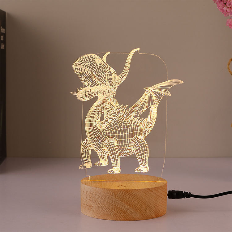 3D Lamp USB Night Lamp On Off Switch LED Atmosphereric Glow Wooden Base