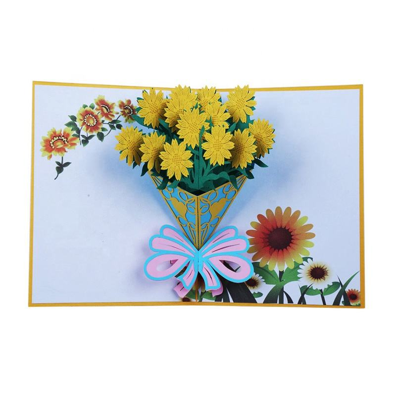 Customized popup 3d Flower Design card congratulations card Greeting Cards for Birthday