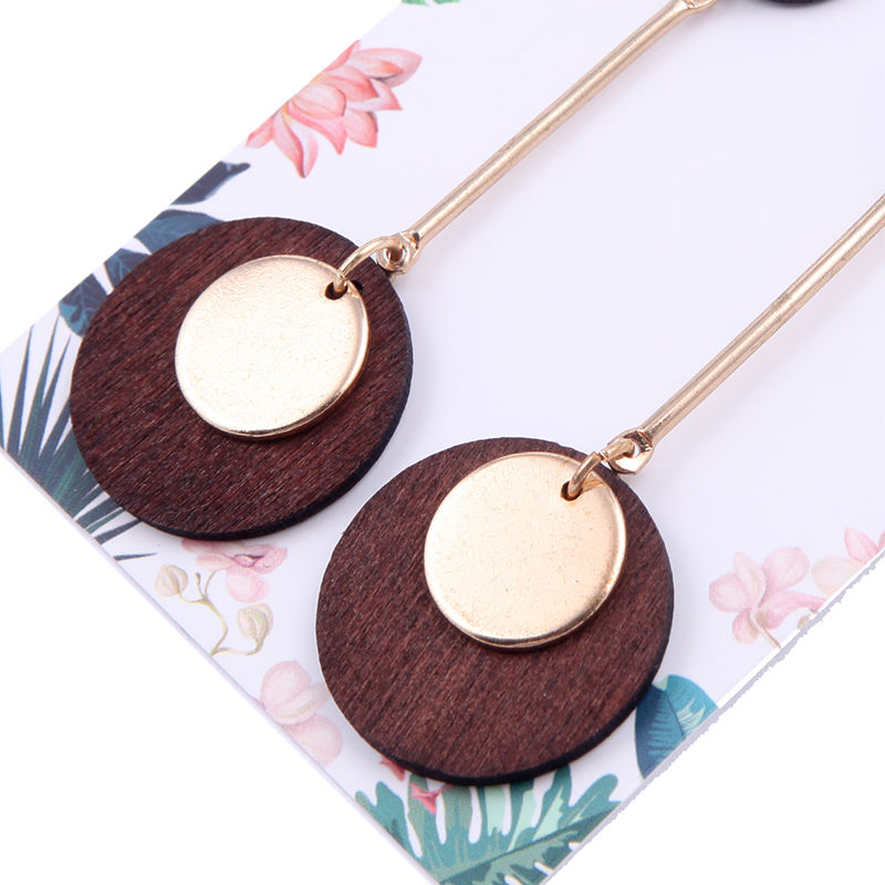 New Arrival Fashion Round Wood Drop Round Metal Charm Long Drop Earrings