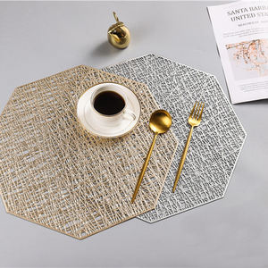 Table Mat/Placemat Eco-Friendly Stocked Gold Pvc Placemat
