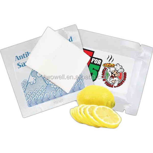 individual wet lemon wipe for single use