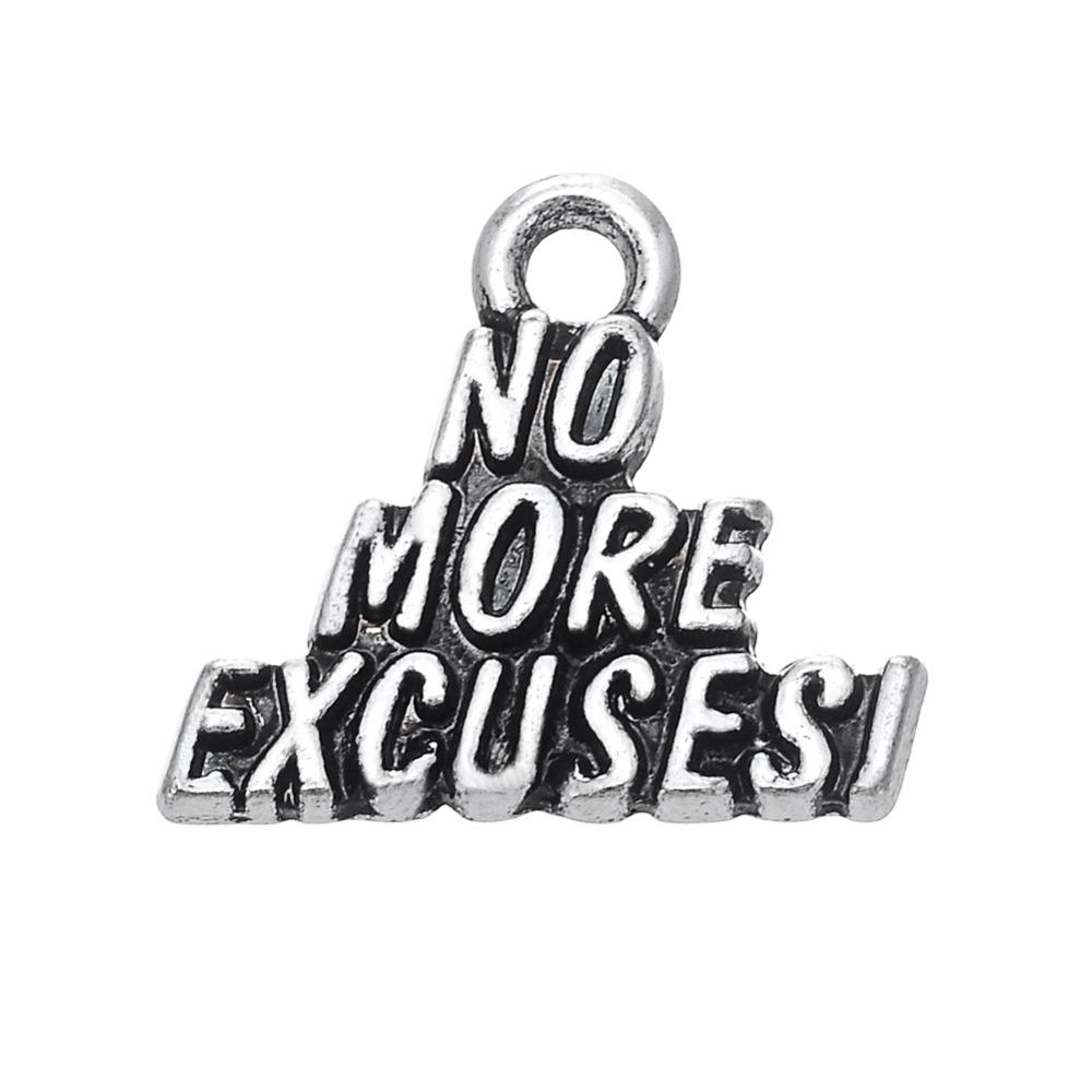 Hand-made DIY Word No More Excuses Charm Jewelry