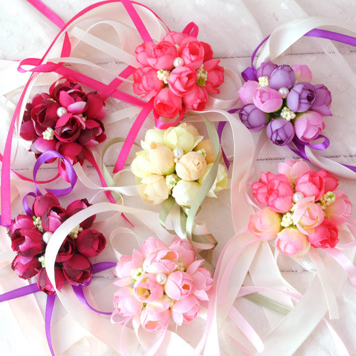 artificial flower corsage and wrist flowers for wedding