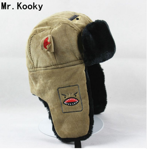 Mr.Kooky Novelty Men Women Winter Thick Warm Shark Devil Lei Feng Bomber Hats Thermal Cap Funny Cool Halloween Birthday Gifts