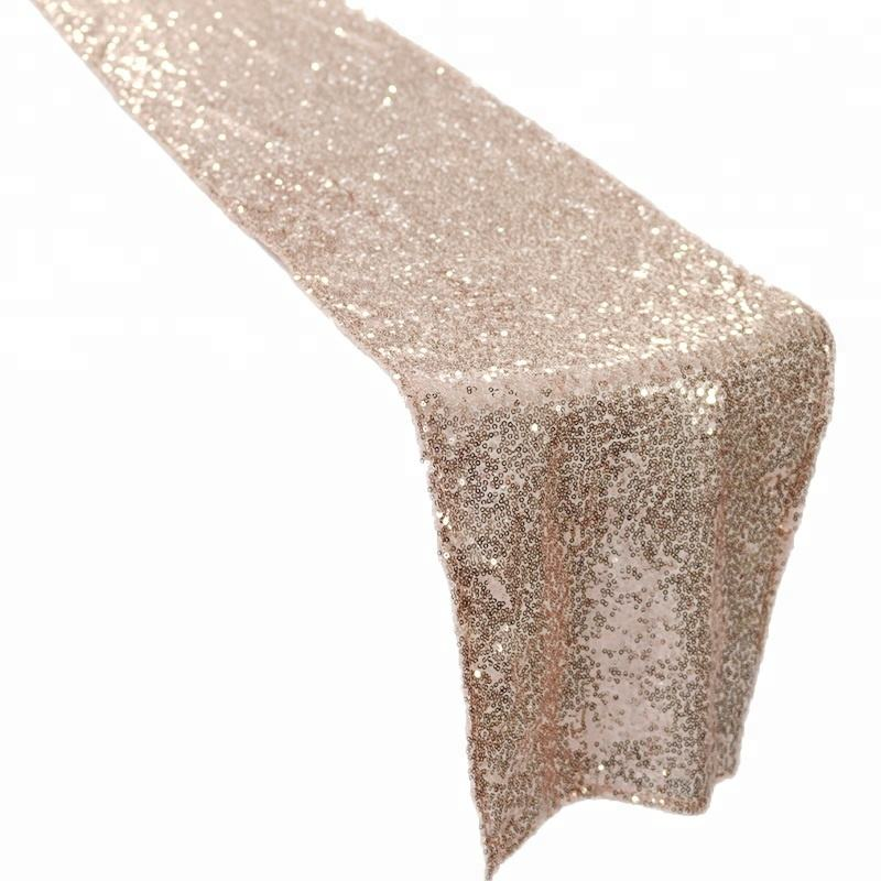 Rose Gold Long Lanh Sequin Bảng Runner Wedding Bảng Runners Sáng Bóng SequinTable Bìa