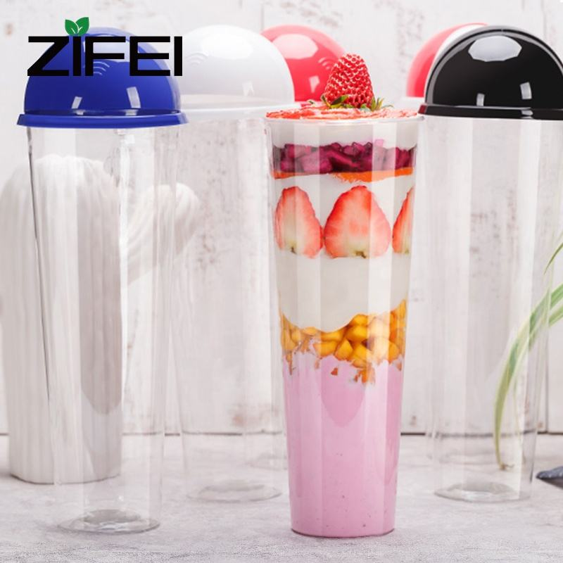 Disposable bubble tea plastic cup 1000ml frozen drink PET plastic cups with colorful lids