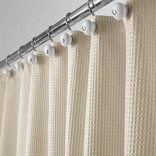 QJMAX Hotel Quality Polyester/Cotton Blend Fabric Shower Curtain with Waffle Weave and Rustproof Metal Grommets