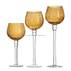 Set Of 3 2017 Goblet Colored Votive Crackle Long-stemmed Glass Candle Holder