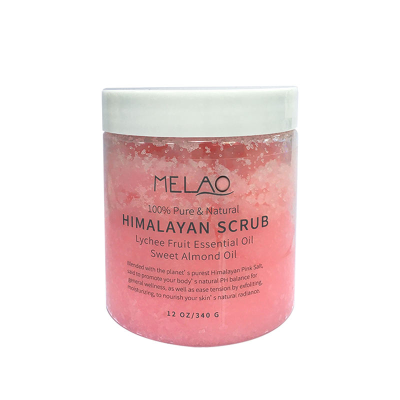 100%Pure himalayan salt body scrub with lychee essential oil, all natural scrub to exfoliate & moisturize skin 12 oz
