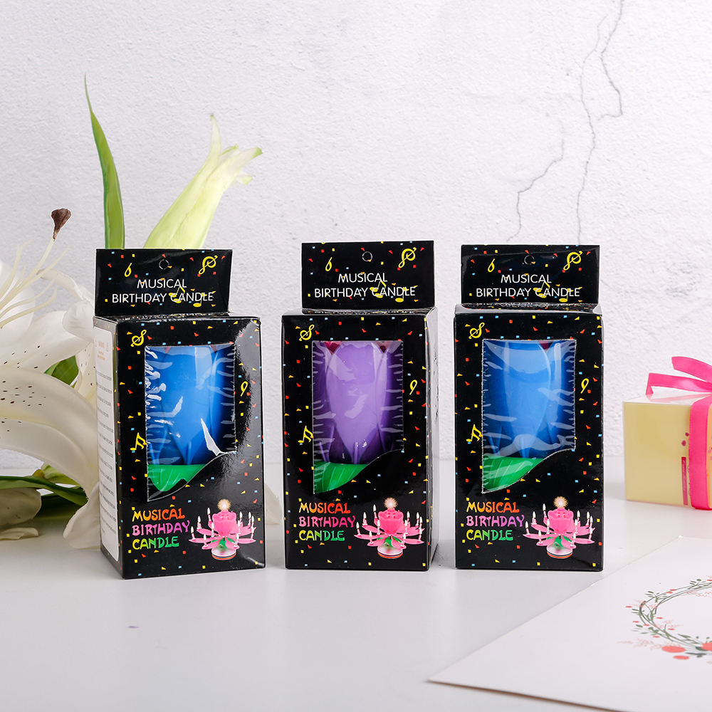 electronic rocket sparkle fountain rotating magic lotus flower music birthday candle