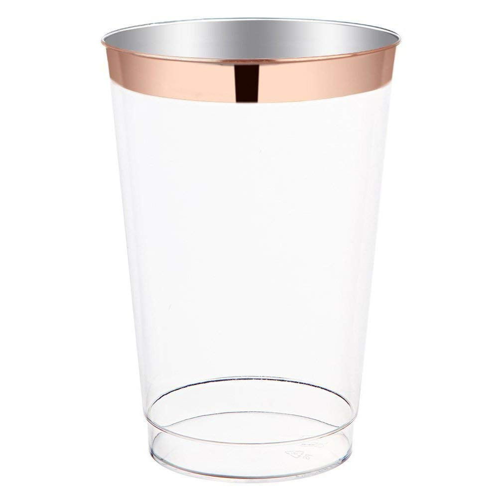 12 oz Rose Gold Plastic Cups Premium Rose Gold Rim Disposable Tumblers, Plastic Wedding Party Cups for wedding decoration party